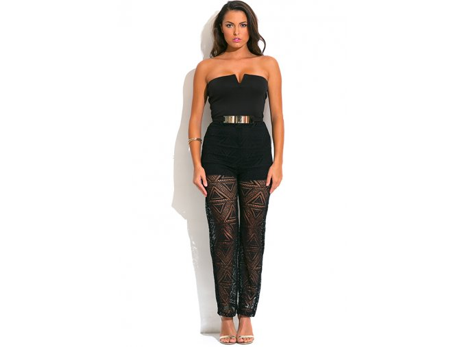 black strapless belted high waisted crochet jumpsuit 1