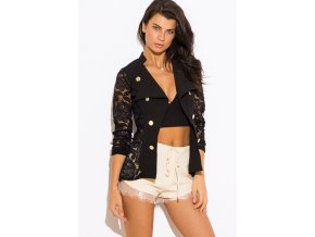 black lace golden button open blazer jacket top 0
