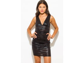 black metallic sleeveless low v neck ruched bodycon fitted bandage cocktail party club mini dress 2