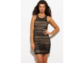 black lace overlay racerback bodycon club mini dress 0