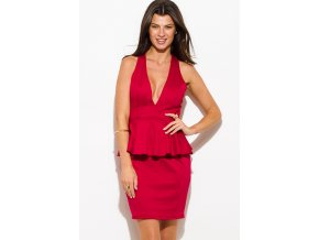 wine red deep v neck sleeveless cross back fitted bodycon cocktail party peplum mini dress 0