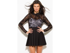black lace contrast high neck long sleeve fitted cut out open back a line skater cocktail party club mini dress 1