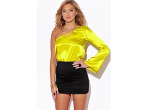 chartreuse green satin one shoulder long sleeve black pencil cocktail party mini dress 0