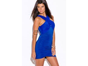 royal blue lace criss cross ruched bodycon fitted club mini dress 1