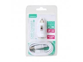 Omega CAR charger 1A + microUSB cable bílá