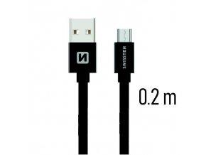 SWISSTEN kabel USB microUSB textilní 0,2m 3A černá