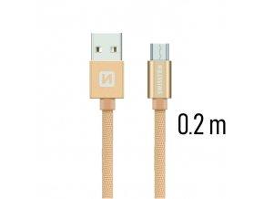 SWISSTEN kabel USB microUSB textilní 0,2m 3A zlatá
