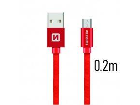 SWISSTEN kabel USB microUSB textilní 0,2m 3A červená
