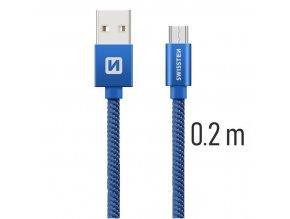 SWISSTEN kabel USB microUSB textilní 0,2m 3A modrá
