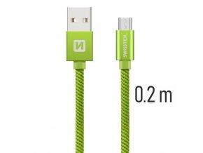 SWISSTEN kabel USB microUSB textilní 0,2m 3A zelená