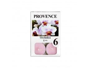 Provence svíčka vosková čajová 6ks orchidej 560227/40
