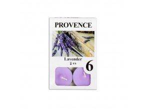 Provence svíčka vosková čajová 6ks levandule 560227/77