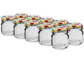 sklenice zavařovací 40ml + víčka barev. 43 (10ks)