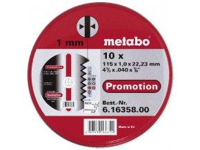METABO - sada 10 ks kotoučů Promotion 115x1,0mm na nerez