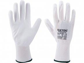 """rukavice z polyesteru polomáčené v PU, bílé, velikost 8"""""""
