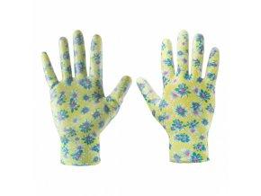 """rukavice zahradní - nitril, 8\"""" květ.vzor Verto"""