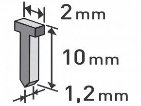 hřebíky, balení 1000ks, 10mm, 2,0x0,52x1,2mm