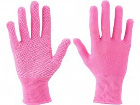 """rukavice z polyesteru s PVC terčíky na dlani, velikost 7"""""""