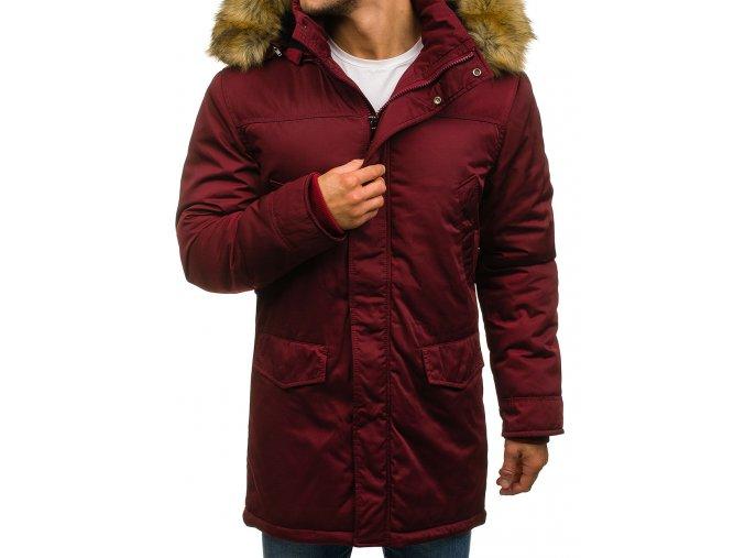 Zimní pánská bunda vínová R51 (Velikost XXL)