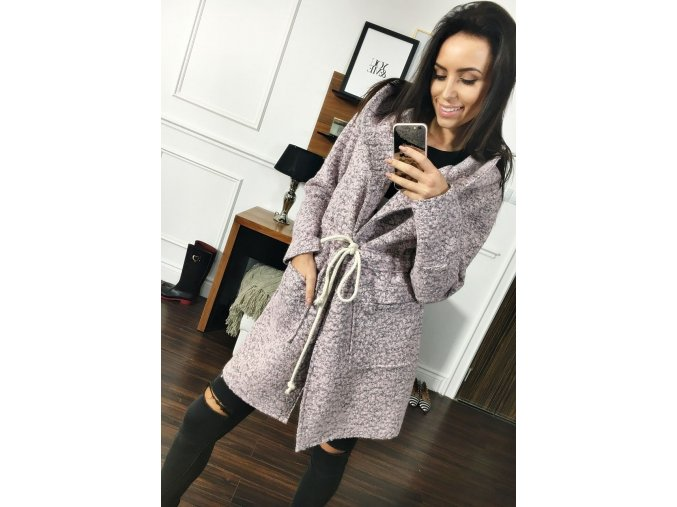 Kabát šedo růžový 6219 (Velikost lomenná S/M)