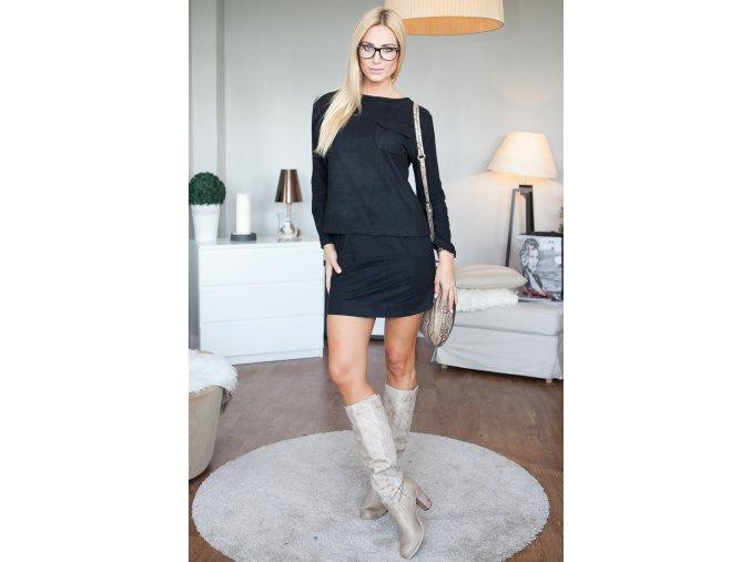 Krátká sukně + černou halenku 9756 (Velikost L)