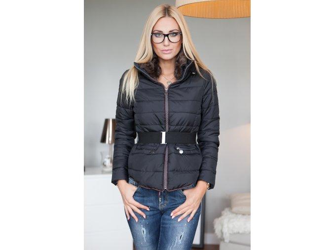 Prošívaná bunda s kožešinou na límci v černé K1731 (Velikost XL)