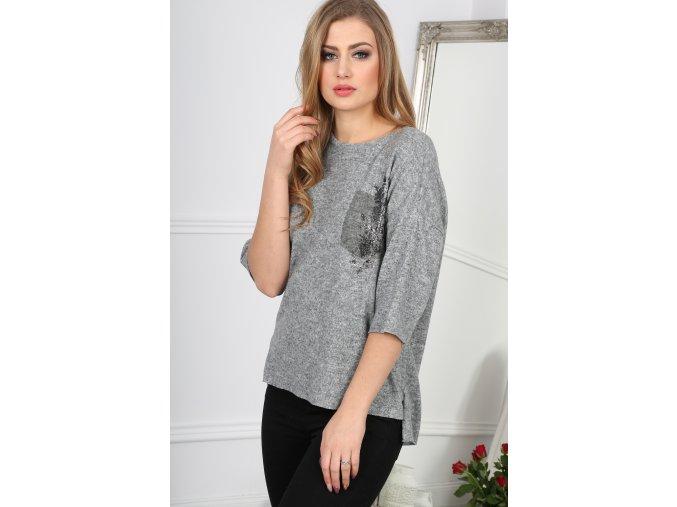 Světlý šedý svetr s  ozdobou BB20783 (Velikost S)