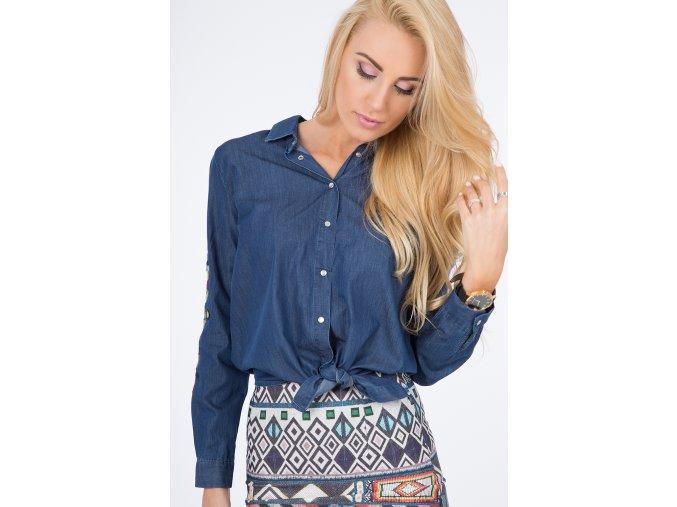 Tmavě modrá džínová košile s vyšíváním 21125 (Velikost S)