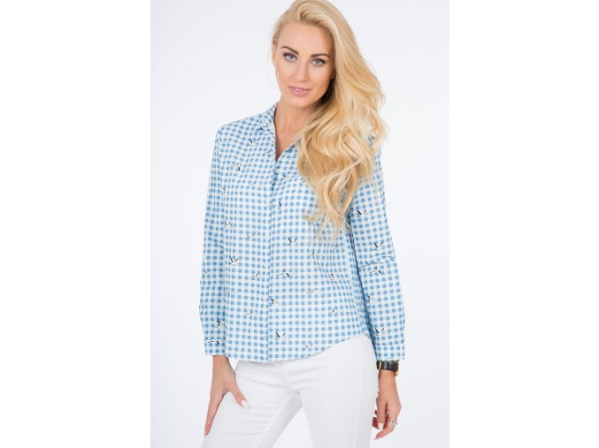 Modrá košile s tiskem 21110 (Velikost L)