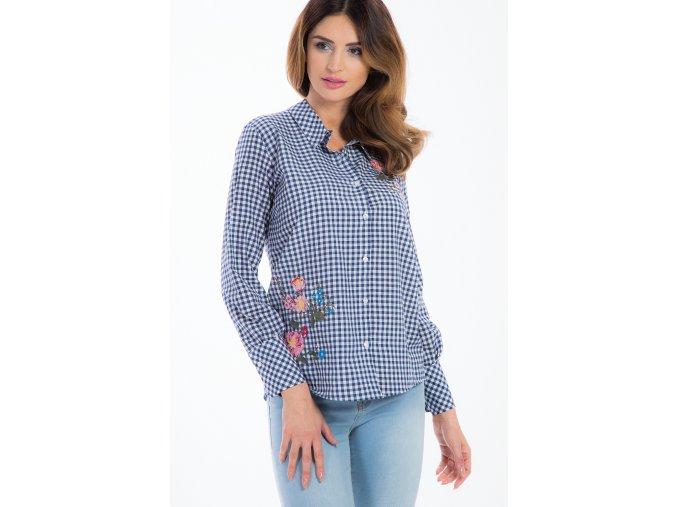 Tmavě modrá kostkovaná košile s výšivkou 21275 (Velikost L)