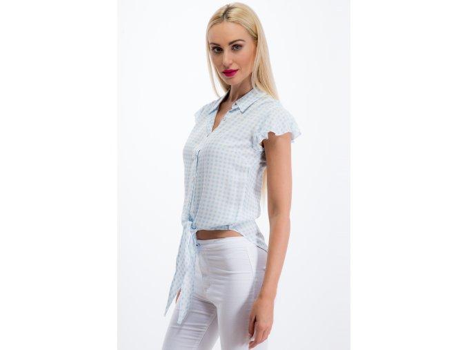 Světle modrá kostkovaná košile 21080 (Velikost M)