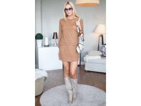 Krátká sukně + karamelová halenka 9756 (Velikost L)