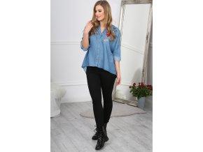 Modrá košile džínová zdobená výšivkou BB20677 (Velikost L)