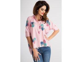 Růžová košile s potiskem 21109 (Velikost L)