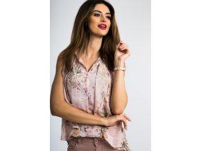 Růžová květovaná košile 21115 (Velikost L)