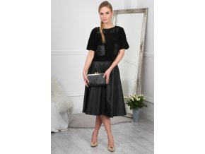 Černá kožená sukně BB20621 (Velikost L)