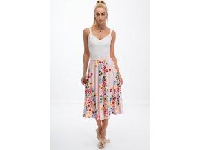 Prášková růžová sukně s květy 8261 (Velikost XXL)