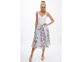 Dámská světlá modrá sukně s květy 8261 (Velikost XXL)