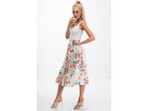Krémová květová sukně 8261 (Velikost XXL)
