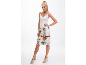 Krémová sukně se vzory 8401 (Velikost S)