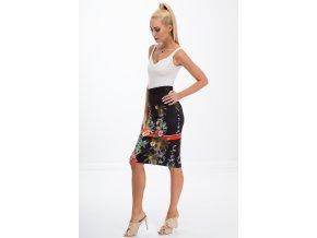 Černá sukně se vzory 8401 (Velikost XL)