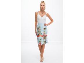 Světle modrá sukně se vzory 8401 (Velikost S)