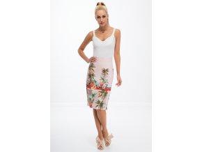 Prášková růžová sukně se vzory 8401 (Velikost M)