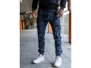 Pánské kalhoty (joggerky), modrá kamufláž P0404