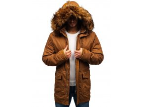 Pánská zimní bunda hnědá (camel) PR109