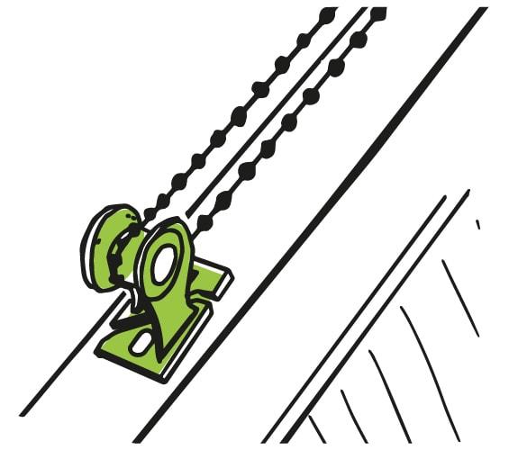 Bezpečnostní kladka pro napnutí řetízku