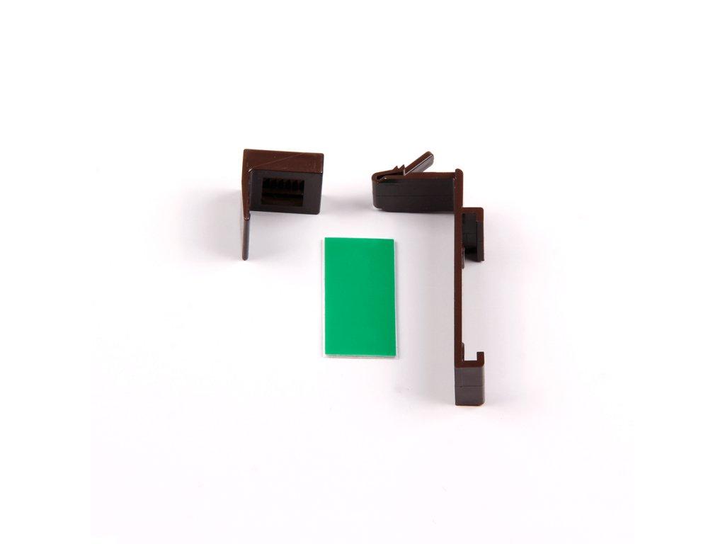 Horní plastový háček pro zavěšení pro otevřenou kazetu, hnědá