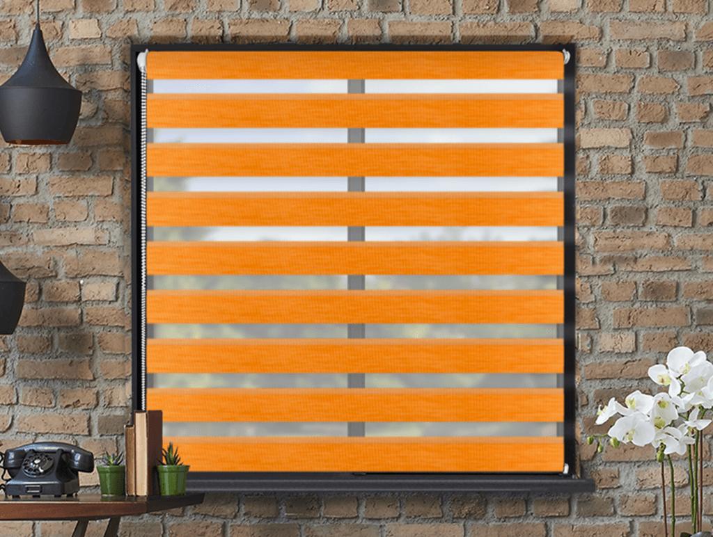 Levně Roleta Den a noc, Nature pomeranč, A 025 Výška rolety: 220 cm, Šířka rolety: 145 cm, Strana a barva mechanismu: Pravá - Hnědá