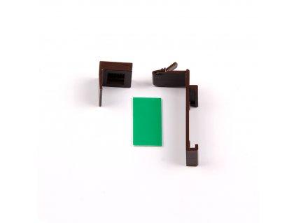 Horný plastový háčik na zavesenie pre otvorenú kazetu, hnedá
