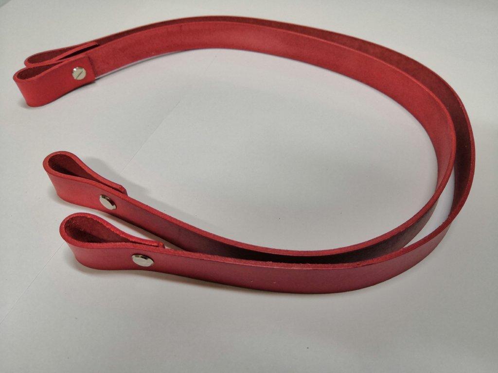 Kožené uchá na kabelku - červená